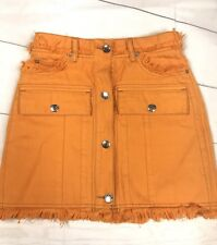 "Acne Studios AUTHENTIC Orange Button Down Fringe Skirt ""GIGA GD PAW16"" Size 34"