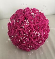 ARTIFICIAL HOT PINK FOAM ROSE BRIDE WEDDING BOUQUET BRIGHT PINK FLOWERS POSIE