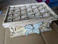 Vintage Woven + Wood Trinket Storage Box jewellery shabby chic j70