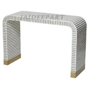 Handmade Bone Inlay Gray Waterfall Console table