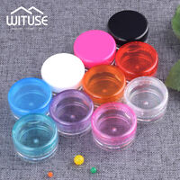 SMALL PLASTIC SAMPLE ROUND BOTTLE JAR COSMETIC CREAM CONTAINER EMPTY POTS DED1
