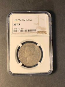 Straits Settlements Queen Vic silver 50 cents 1887 toned extremely fine NGC XF45
