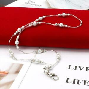 Hidden Hollow Beads White Pearls Beaded Lanyard ID Badge Holder Pendant Necklace