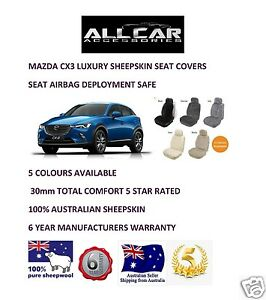 Sheepskin Car Seatcovers for Mazda CX3/30 , Five colours, Seat Airbag Safe 30mm