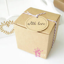 100x Kraft 7.5cm Favour Boxes Bomboniere Wedding Baby Shower Plain Cupcake Box