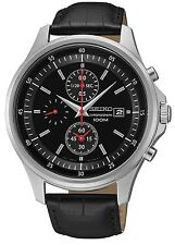 SCNP OS SNDE29P1 Seiko Gents Chronograph Date Display Leather Strap Watch