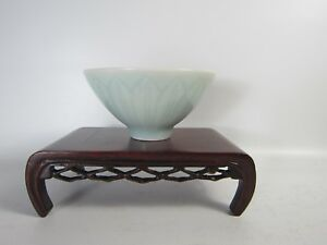 Nice Chinese Lotus Blue-Sky Tea Bowl OldChineseEstateSaleNorthYork