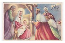 PMCE215/7cartolina augurale vintage Sacra Famiglia re magi presepio Buon Natale