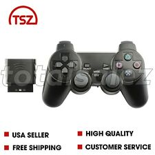 For Sony PS2 Playstation 2 Black Twin Shock Wireless Video Game Controller