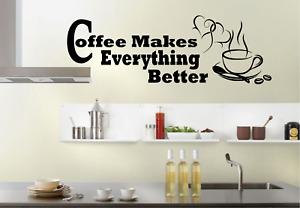Home Coffee Art Vinyl Coffee Sign Kitchen Restaurant Wall Art Coffee Beans Joe Wall Decal Coffee Wall Decor Dining Decor Sticker