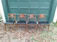 Set of Four   Mid Century Modern  Walnut  side chairs Hoover  Chair Company
