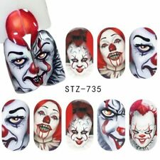 Nail Art Water Decals Stickers Transfers Halloween Freaky Scary Clowns STZ735