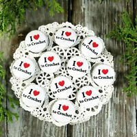 "12 Love (heart) to Crochet Pins 1 1/4"" Pinback Buttons Party Favor Gift New USA"