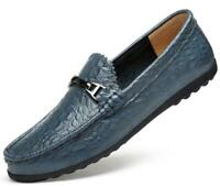 Mens Leather Driving Loafers Slip on Moccasins Flats Comfy Dress Shoes Business