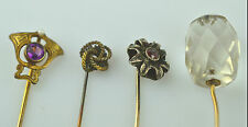 LOT OF 4 ANTIQUE STICKPINS: PURPLE GLASS & SEED PEARL, FACETED GLASS, LOVE KNOT