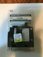 New Siemens Type D Circuit Breaker -20 Amp Double Pole, 120/240 VAC- #D-220, #2A