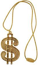 Dollar Medaillon an Kordel-Kette NEU - Zubehör Accessoire Karneval Fasching