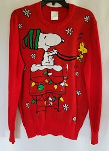 Peanuts Snoopy & Woodstock Christmas Sweater Dog House in Red Size Large New
