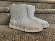 Ugg Womens Mini Bailey Sparkle Glitter Boots Size 7 Silver