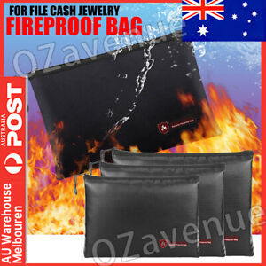 FIREPROOF DOCUMENT BAG WATER & FIRE RESISTANT STORAGE FOR FILE CASH JEWELRY AU