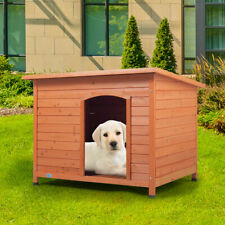 """New listing 33"""" Wood Waterproof Slant-Roofed Small Dog House Pet Cage Kennel Cabin Outdoor"""