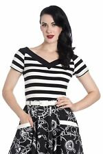 aec6c364915 Hell Bunny Caitlin 50s Style Nautical Sailor Black Off-white Striped Top Xs -4xl