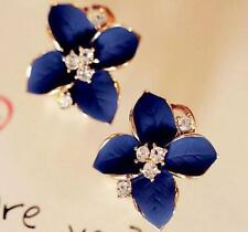 Fashion Womens Elegant Crystal Rhinestone Earring Blue Flower Ear Clip Earrings