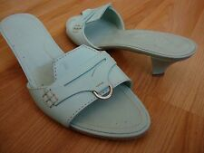 TOD'S LIGHT GRAY LEATHER HEEL SANDAL SIZE 7 US MADE IN ITALY $450