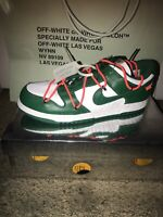 🔥100% Authentic NEW Nike Dunk Low OFF-WHITE Pine Green White Mens Size 10.5 DS