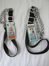 Brand New Petmate Aspen Pet Check Collar (Chain/Black Nylon) Dog Multiple Sizes