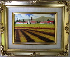"""Framed Oil Painting """"Tuscan Lavender Fields"""" 9x11 inches"""