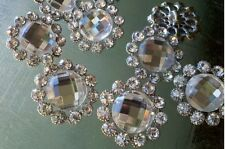 10 Bridal Embellishment Silver Metal Clear Glass Rhinestone Buttons 23 mm