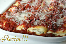 "☆Baked Manicotti with Meat Sauce ""RECIPE""!☆Flavorful Food Bliss!☆"