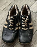 GBX Mens Driving Shoes Black With Tan/white Stitching Casual Shoe Size 10