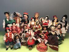 HUGE VINTAGE LOT BEAUTIFUL ETNO FOLK ART DOLLS IN HANDMADE CLOTHS EASTERN EUROPE