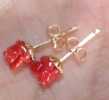 VINTAGE GENUINE 14K ITALIAN UNDYED RED CORAL 5.5 MM ROSE FANCY STUD EARRINGS
