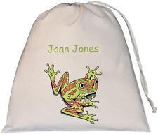 Personalised - Tree Frog Design - Large Natural Cotton Drawstring Bag - PE Kit