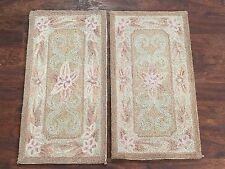 (2) 1X2 Hand-Hooked Area Rugs Set Small Oriental Wool Carpet Lot Pair 1.2 x 2.1