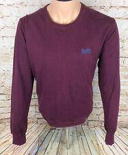 Superdry Crew Neck Jumper Sweatshirt Cotton Maroon Sz XL / Extra Large Mens