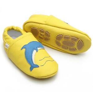 Liya's Hausschuhe Lederpuschen Turnschläppchen - #640 Delfin in gelb
