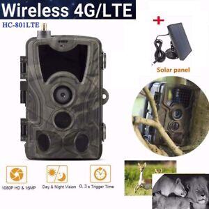 1080P Hunting Trail Camera Farm Security 801LTE 4G 16MP Night Vision+Solar Panel