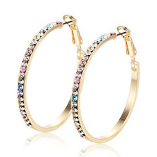 Vintage womens lucky rainbow crystal big round hoop earrings Yellow gold filled