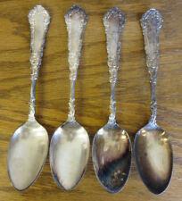 "4 Antique Rare Fox & Fulmer Jewelers Ornate Silverplate Spoons Monogram 7"" Rose"