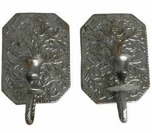 Silver Coloured Candle Holders Wall Mount Metal Sconce x 2