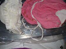 2-VTG Baby Infant Girl Winter Bonnet Hat lining Ribbon Lace &Red Gingham Cotton