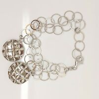 Solid sterling silver 925 Az551-11 bracelet bangle chain circle jewellery 7 inch