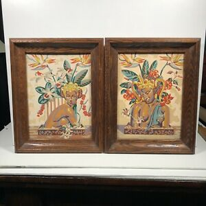 """2 Vintage Paint By Numbers Framed Paintings Topless Island Women Themed 15""""x12"""""""