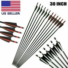 30 inch Fiberglass Arrows Archery Spine 500 8mm For Compound/Recurve Bow Hunting