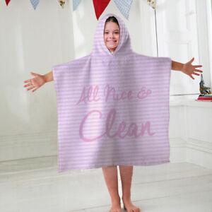 Kids Hooded Towel Poncho Nice & Clean Pink Design Children's Bathrobe Swim