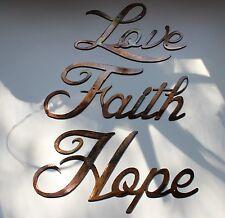 Love Faith Hope Words Metal Wall Art Accents